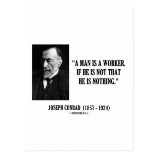 Joseph Conrad un hombre es una cita del trabajador Tarjeta Postal