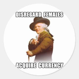 Joseph Ducreux Acquire Currency Classic Round Sticker