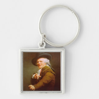 Joseph Ducreux Silver-Colored Square Keychain