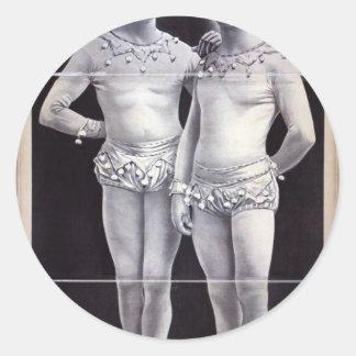 Joseph Hart Vaudeville, 'The Vanaukens' Retro Thea Round Sticker
