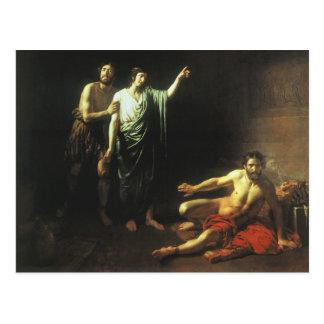 Joseph interpreting dreams to butler and baker postcard