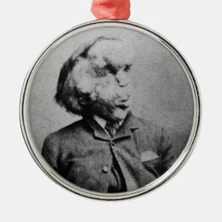 "Joseph ""John"" Merrick The Elephant Man from 1889 Round Metal Christmas Ornament"