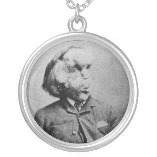 "Joseph ""John"" Merrick The Elephant Man from 1889 Silver Plated Necklace"