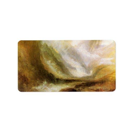 Joseph Mallord Turner - Snowstorm and avalanche Address Label