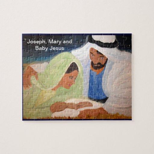 Joseph mary and baby jesus jigsaw puzzles zazzle