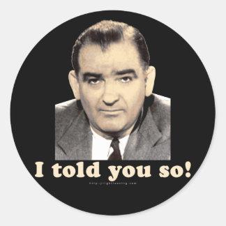 Joseph McCarthy Classic Round Sticker