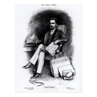 Joseph Pulitzer  from 'The Curio', 1887 Postcard