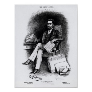 Joseph Pulitzer  from 'The Curio', 1887 Poster