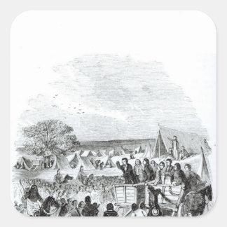 Joseph Smith que predica en el desierto Pegatinas Cuadradas