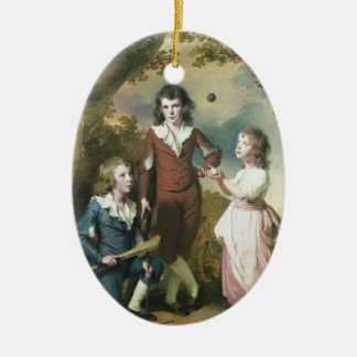 Joseph Wright-The Children of Hugh and Sarah Wood Double-Sided Oval Ceramic Christmas Ornament