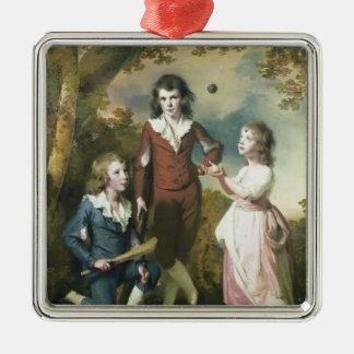 Joseph Wright-The Children of Hugh and Sarah Wood Square Metal Christmas Ornament
