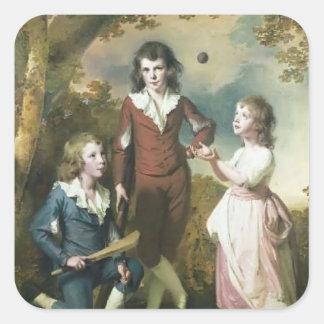 Joseph Wright-The Children of Hugh and Sarah Wood Square Sticker