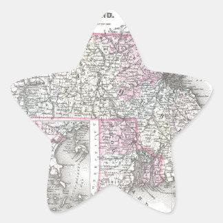 JosephHutchinsColtonMapMassachusettsRhodeIsland.jp Pegatina En Forma De Estrella