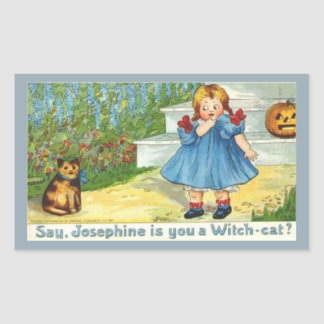 Josephine el gato de la bruja pegatina rectangular