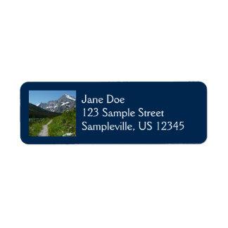 Josephine Lake Trail with Mount Guild at Glacier Label
