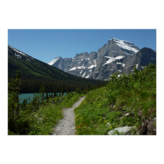 Josephine Lake Trail with Mount Guild at Glacier Poster