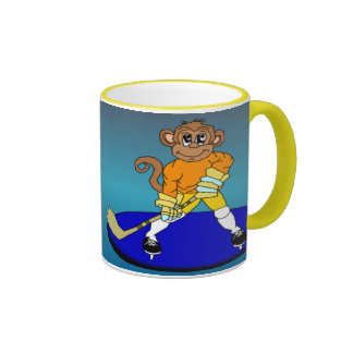 Josh the Ice Hockey Monkey Ringer Mug