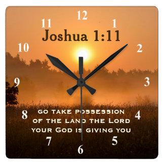 Joshua 1:11 Scripture Take Possession of the Land Square Wall Clock