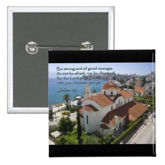 Joshua 1:9 Albanian Church 2 Inch Square Button
