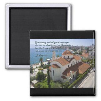 Joshua 1:9 Albanian Church 2 Inch Square Magnet