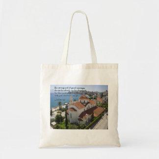 Joshua 1:9 Albanian Church Budget Tote Bag