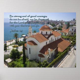 Joshua 1:9 Albanian Church Poster