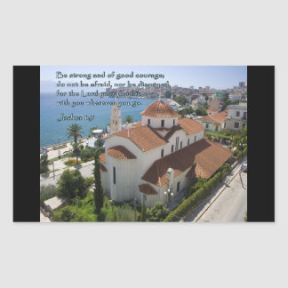Joshua 1:9 Albanian Church Rectangular Sticker