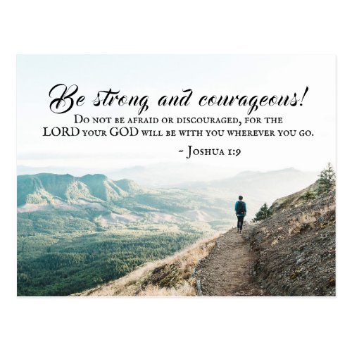 Joshua 19 Be Strong and Courageous Bible Verse Postcard