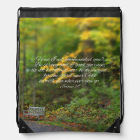 Joshua 1:9 Bible Verse Christian Scripture Drawstring Backpack