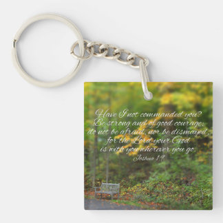 Joshua 1:9 Bible Verse Christian Scripture Single-Sided Square Acrylic Keychain