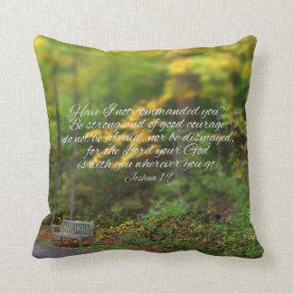 Joshua 1:9 Bible Verse Christian Scripture Throw Pillow