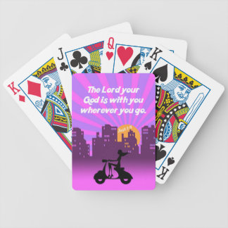 Joshua 1:9 Girl on Scooter w/Skyline - Bible Verse Bicycle Playing Cards