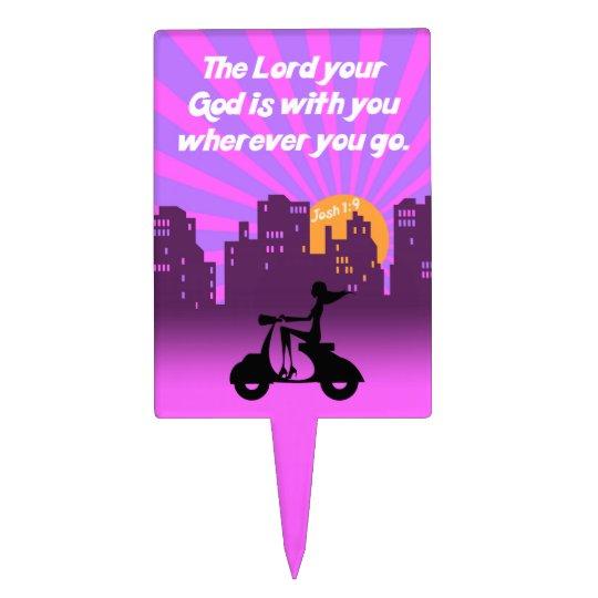 Joshua 1:9 Girl on Scooter w/Skyline - Bible Verse Cake Topper