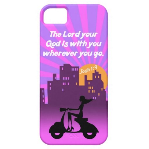 Joshua 1:9 Girl on Scooter w/Skyline - Bible Verse iPhone 5 Case