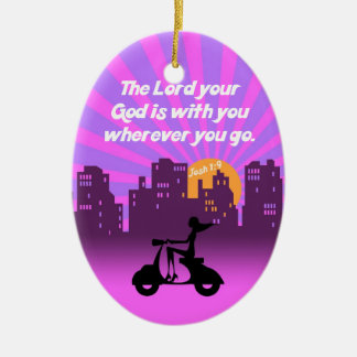 Joshua 1:9 Girl on Scooter w/Skyline - Bible Verse Ceramic Ornament