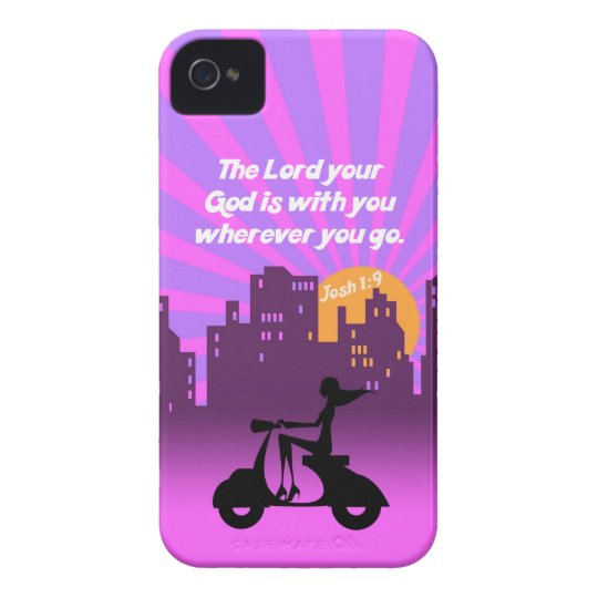 Joshua 1:9 Girl on Scooter w/Skyline - Bible Verse iPhone 4 Cover