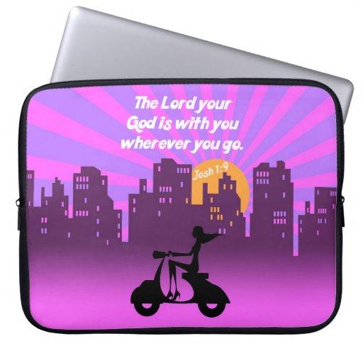 Joshua 1:9 Girl on Scooter w/Skyline - Bible Verse Laptop Sleeve