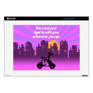 Joshua 1:9 Girl on Scooter w/Skyline - Bible Verse Laptop Skin