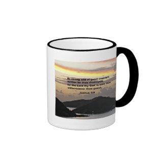 Joshua 1:9 ringer coffee mug