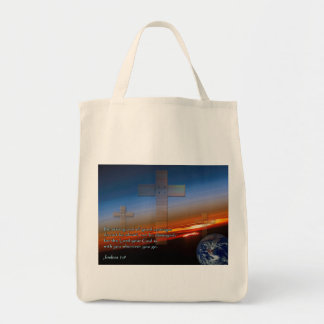 Joshua 1:9 Sunset Crosses Canvas Bag