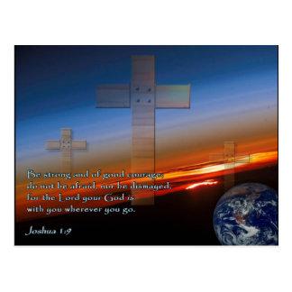 Joshua 1:9 Sunset Crosses Postcard
