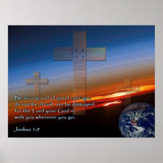 Joshua 1:9 Sunset Crosses Print