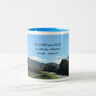 Joshua 1:9 The Lord your God is with you Two-Tone Coffee Mug