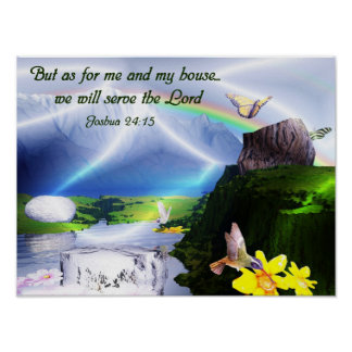 Joshua 24:15 Bible Verse Christian Poster