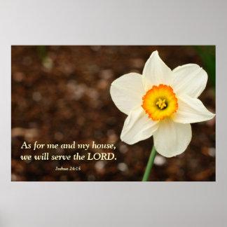 Joshua 24:15 Bible Verse Daffodil Poster