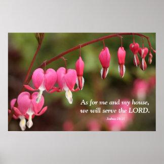 Joshua 24:15 Bleeding Heart Flowers Poster
