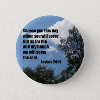 Joshua 24:15 pinback button
