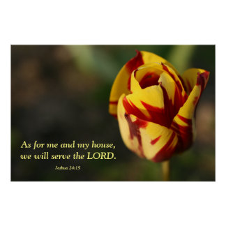 Joshua 24:15 Red and Yellow Tulip Poster