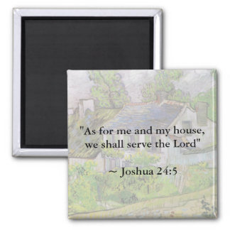 Joshua 24:15 Van Gogh House 2 Inch Square Magnet