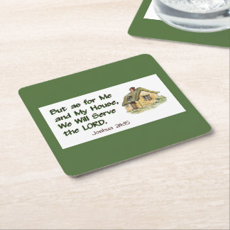 Joshua 24:15 We Will Serve The Lord Square Paper Coaster